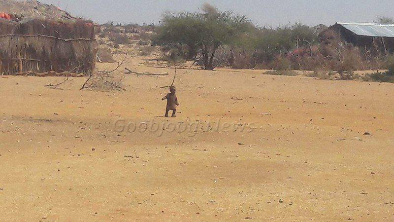 This child walks within an open space around the home oblivious of death of a family member the same day who succumbed to hunger. November 27, 2016 Photo: Goobjoog News