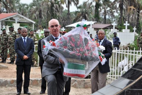 AU Peace Commissioner Smail Chergui pays tribute to fallen Burundi soldiers who served in Amisom. Chergui is expected to negotiate a deal with Burundi to hold back its threats to pull out soldiers from Somalia. Photo: AU Peace Department