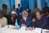 President Hassan Sheikh Mohamud (right) addressing a past NLF meeting. Sources say the leaders have failed to agree on how to resolve the issue of results of five MPs nullified by the dispute resolution body, IDRM. File Photo: Goobjoog News