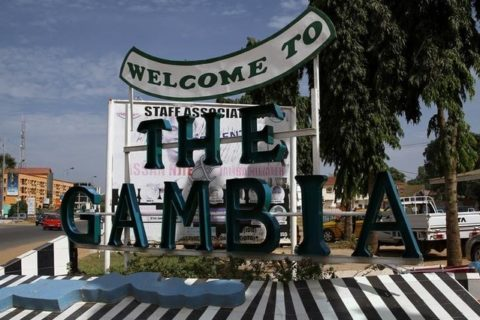 A sign welcoming people to The Gambia is seen at Senegambia in Banjul, Gambia December 14, 2016. Photo taken December 14, 2016.   REUTERS/Afolabi Sotunde