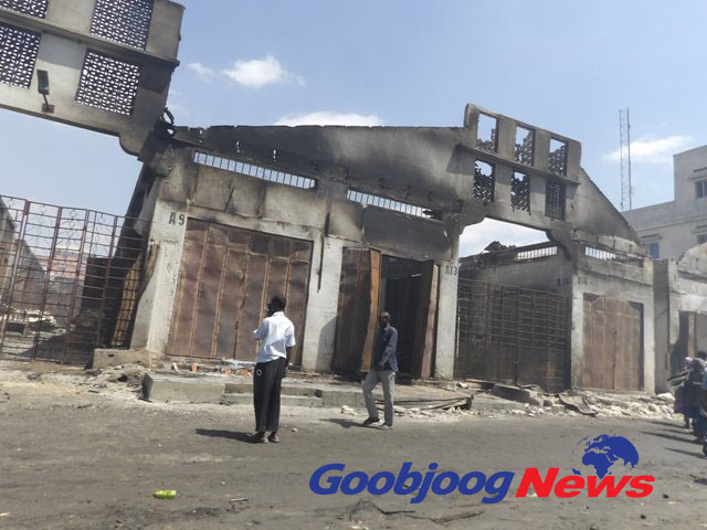 This building which housed several businesses was also destroyed by the fire in Bakaaro market. Photo: Abdinajib Dahir Goobjoog Business
