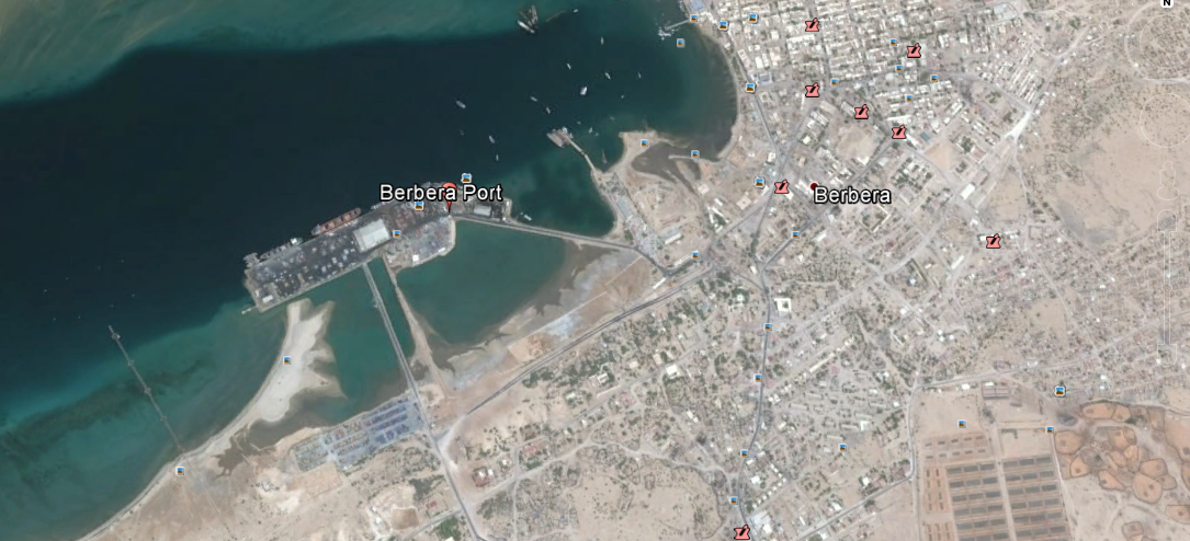 Satellite image of Berbera port in Somaliland. The UAE will build and run a naval base for 25 years in line with pact with Somaliland. Image: Google Earth