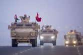 A convoy of UAE military vehicles and personnel travels  Yemen 2015. Photo: WAM/AP