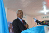 The President of the newly-formed HirShabelle Administration, Ali Abdullahi Osoble addresses guests during his inauguration ceremony held in Jowhar on October 22, 2016. UN Photo Ilyas Ahmed