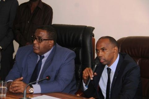 PM Hassan Khaire (right) speaking during the handover from former PM (left) Omar Sharmarke last week. Photo: Goobjoog News