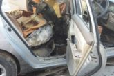 Damaged car of TV Journalist Abdihamid Mohamed Karzay after an bomb fitted on it exploded. The journalist was seriously injured. Photo: Goobjoog News|March 12, 2017