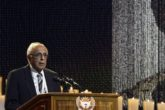 Ahmed Kathrada, close friend of former South African President Nelson Mandela, speaks during Mandela's funeral ceremony in Qunu December 15, 2013. REUTERS/Odd Andersen/File Photo