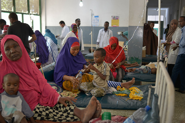 Malnourished children, many of them suffering from diarrhea, lie on beds in Banadir hospital in Mogadishu, March 9, 2017. Photo: UNSOM