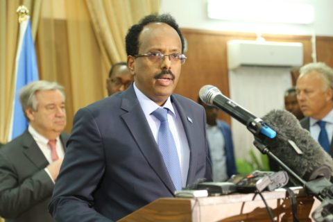 President Mohamed Farmaajo addressing the media in Mogadishu after meeting with UN chief António Guteress. Photo: Villa Somalia|March 7, 2017