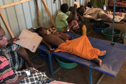 Patients suffering from cholera are admitted at a makeshift ward in Baydhabo, south western Somalia. Photo:UNSOM|March 7, 2017