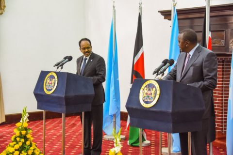 President Mohamed Farmaajo (R) and his Kenyan counterpart Uhuru Kenyatta during a joint press conference in State House Nairobi Wednesday. The two leaders agreed to re-launch direct flights from Mogadishu to Nairobi. Photo: State House, Nairobi|March 23, 2017