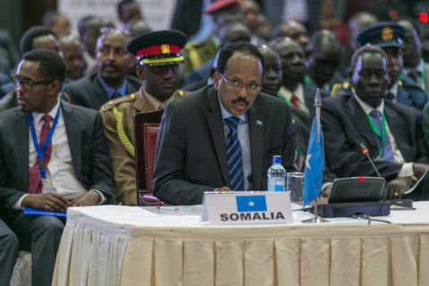 President Mohamed Farmaajo following proceedings during the IGAD special summit in Nairobi Saturday. The leaders agreed on a multi-donor fund to facilitate Somali refugee return and long term approaches. Photo: State House, Kenya
