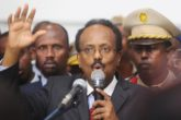 Somalia's newly-elected President Mohamed Abdullahi Farmajo addresses lawmakers after winning the vote at the airport in Somalia's capital Mogadishu, February 8, 2017. REUTERS/Feisal Omar