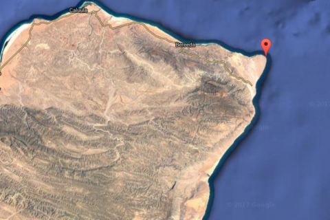 Satellite image showing Gardafu region at the tip eastern tip of Puntland.  Puntland maritime forces clashed Thursday with pirates holding a vessel there. Image: Google Earth
