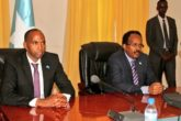 PM Hassan Khaire (R) and President Mohamed Farmaajo during a meeting Tuesday with newly appointed cabinet. Photo: Villa Somalia March 21, 2017