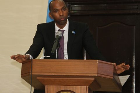 PM Hassan Khaire at Villa Somalia during the unveiling of his new cabinet. The PM announced a 68 member cabinet among them one deputy premier. Photo: Villa Somalia