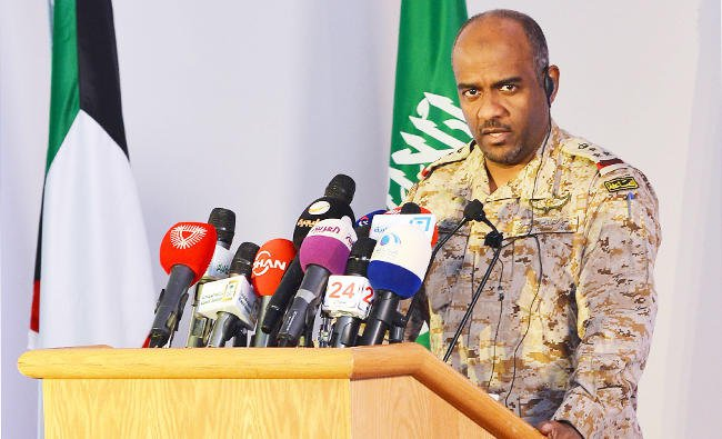 Saudi led coalition spokesman Maj Gen Ahmed A-l Assiri in a past media conference. He said the coalition forces did not fire in the Al-Hudaydah. File Photo: Arab News
