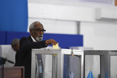 House Speaker Mohamed Jawaari casts his vote during the election of president February 8 in Mogadishu. Photo: UNSOM