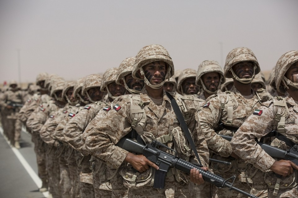 National Service military personnel participate in a ceremony marking the 40th anniversary of the UAE Armed Forces unification, and the graduation ceremony for the 5th batch of National Service personnel, at the Seeh Al Hama camp. Ryan Carter / Crown Prince Court - Abu Dhabi. Photo: The National|May 4, 2016