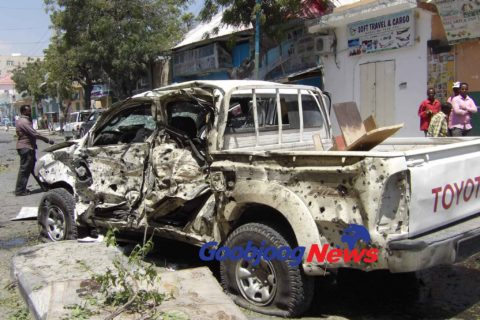 The pick up truck which was hit by the VBIED oaded vehicle. The occupants could not be immediately established. Photo: Goobjoog News|March 13, 2017