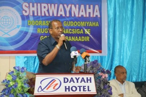 Mahmoud Abdikarin Gabeyre addressing delegates after his re-election as Somali Chamber of Commerce chair. Photo:Goobjoog Business|March 9, 2017