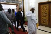 Sudan's President Omar Hassan al-Bashir walks out after naming his first vice president and long-time ally Hassan Saleh to the newly created post of prime minister during a meeting on party leadership in Khartoum, Sudan, March 1, 2017. REUTERS/Mohamed Nureldin Abdallah.