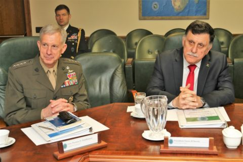 AFRICOM commander Gen. Thomas D. Waldhauser (R) with Libyan Prime Minister Fayez al-Sarraj during a past function in Germany. AFRICOM denied any airstrikes in southern Somalia last week. File Photo: AFRICOM
