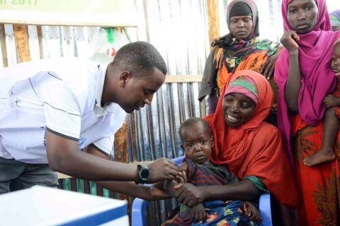A child receives measles vaccination during an ongoing campaign in Baidoa. The campaign targets 360,000 children in south central and northern Somalia. Photo: UNICEF Handout|April 25, 2017