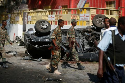 Somali government soldiers secure the scene of an attack on a restaurant by the Somali Islamist group al-Shabab in the capital Mogadishu, Somalia, on October 1, 2016. Photo: Feisal Omar/Reuters