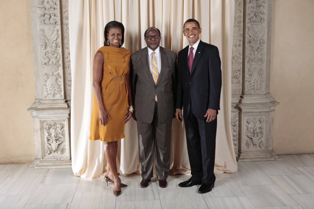 President Barack Obama and First Lady Michelle Obama pose for a photo during a reception at the Metropolitan Museum in New York with, H.E. Roble Olhaye Permanent Representative of the Republic of Djibouti to the United Nations, Wednesday, Sept. 23, 2009. (Official White House Photo by Lawrence Jackson) This official White House photograph is being made available only for publication by news organizations and/or for personal use printing by the subject(s) of the photograph. The photograph may not be manipulated in any way and may not be used in commercial or political materials, advertisements, emails, products, or promotions that in any way suggests approval or endorsement of the President, the First Family, or the White House.