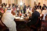 وزراء خارجية الدول الأربع المقاطعة لقطر خلال اجتماعهم السابق في القاهرة يوم 5 يوليو تموز 2017 - صورة رويترز من ممثل عن وكالات الانباء