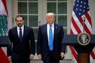 الرئيس الأمريكي دونالد ترامب (إلى اليمين) وبجواره رئيس الوزراء اللبناني سعد الحريري في البيت الأبيض بواشنطن يوم الثلاثاء. تصوير: كارلوس باريا - رويترز.