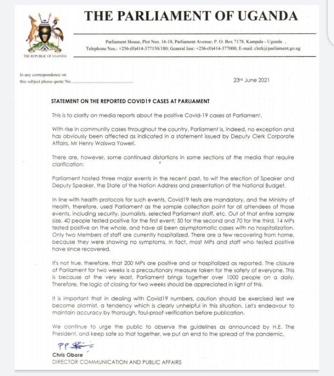 Uganda : Baarlamaanka Oo Corona Dartiis Loo Xiray